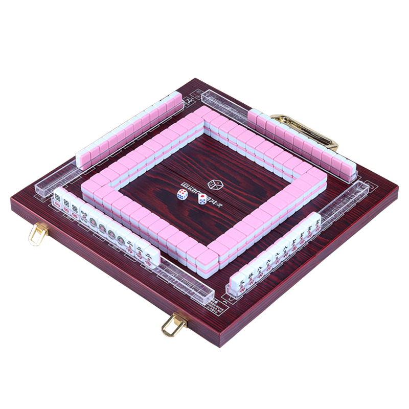 New Mini 22MM/24MM Mahjong Portable Folding Wooden Boxes Majiang Set Mah-jong Travel Table Game Entertainment Indoor Board Games