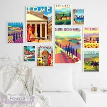 Винтаж путешествия города пейзаж живопись на холсте в итальянском римском Тоскана Hd печати настенные художественные плакаты и принты эсте...