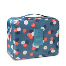 Flower Cloth Portable Travel Cosmetic Bag Waterproof Makeup Case Storage Large Capacity Square Package LMJZ
