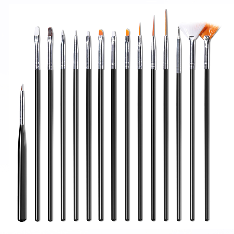 15Pcs/Set Acrylic UV Gel Brush Nail Kit Pink White Mixed Size Professional Dotting Painting Pen Nail Art Painting Tools