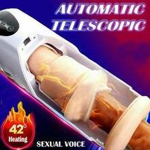 Aquecimento masculino masturbadores copo telescópico automático adulto brinquedos sexuais vagina real sucção vibrador handsfree sexo máquina para 18 + homem