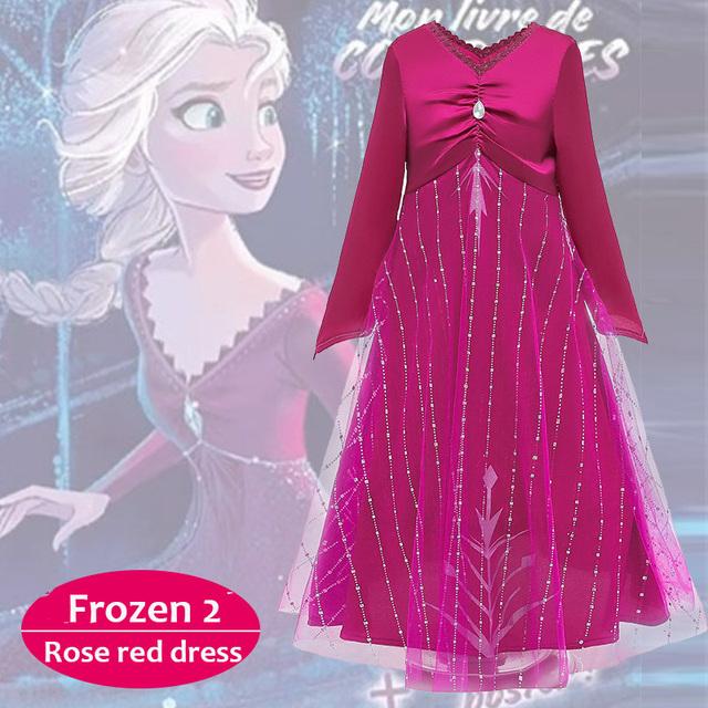 Frozen 2 Elsa Dress Girls Cosplay Birthday Party Dress Kids Christmas Dress Unicorn Party Anna Dress Beautiful Princess Hair
