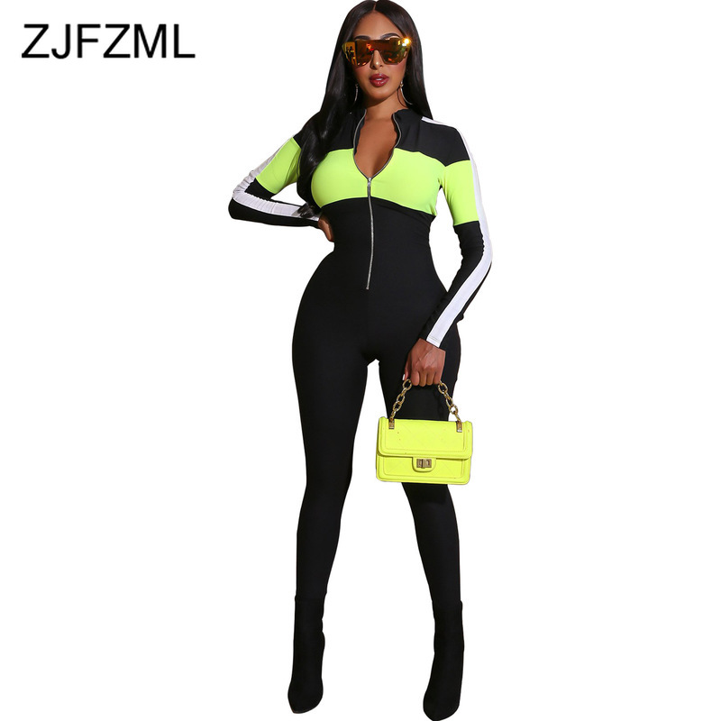 Neon Stripes Sexy Skinny Overall For Women Long Sleeve Zipper Front Bodycon One Piece Jumpsuits Plus Size Bandage Party Rompers
