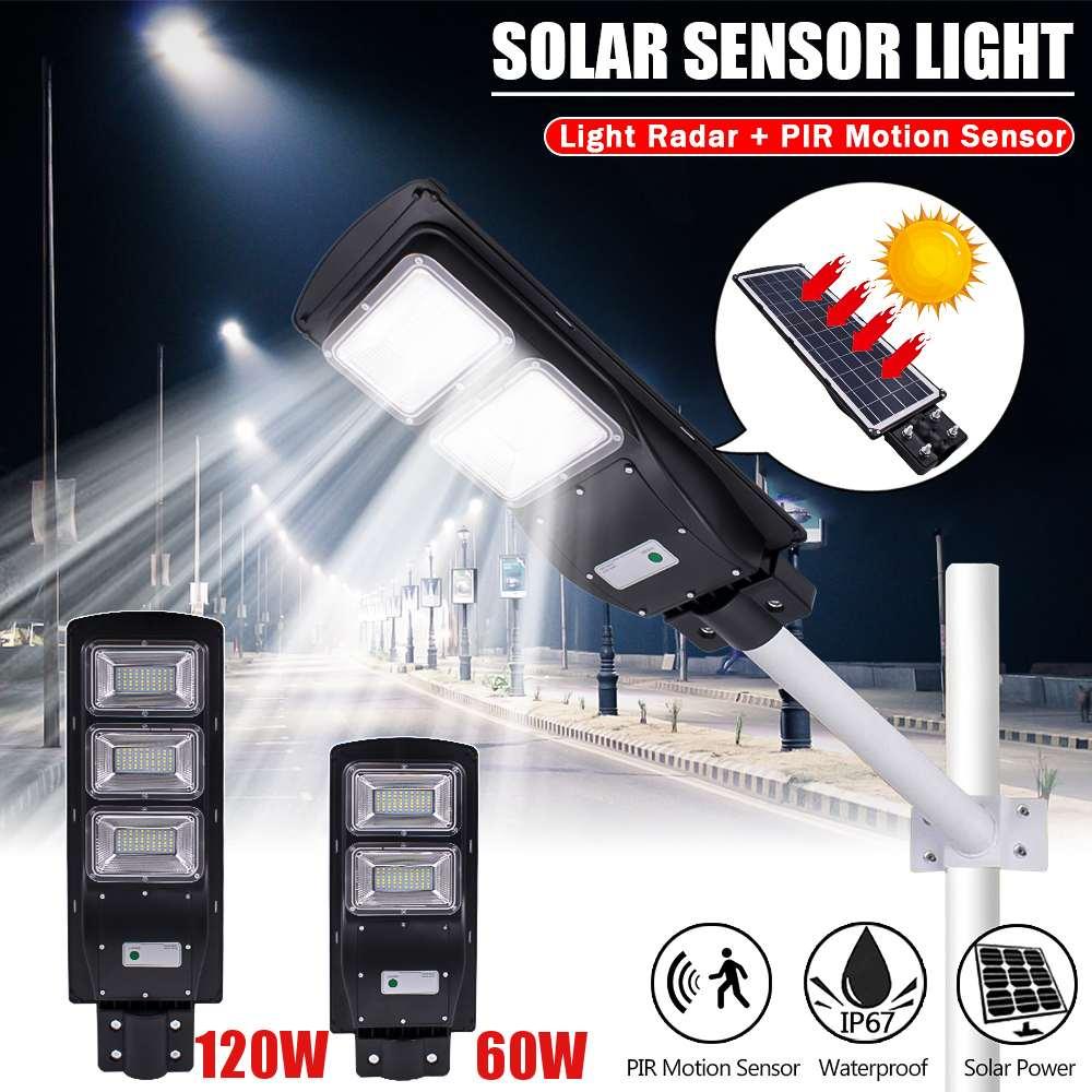 Smuxi 60/120W LED Solar Street Light Rada R+PIR Motion Sensor Outdoor Wall Lamp Solar Waterproof Landscape Garden Light