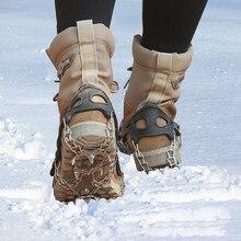 1 par de 19 dentes ao ar livre escalada de gelo crampons neve gelo aço inoxidável antiderrapante sapato cobre silicone ao ar livre engrenagem