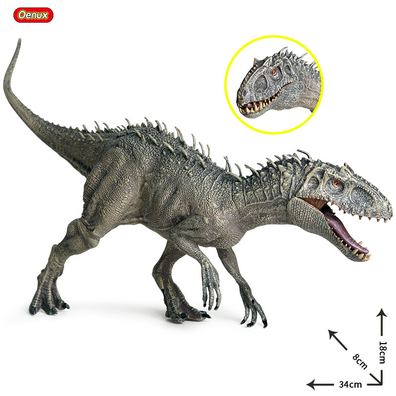 Oenux New 34x8x18cm Jurassic Indominus Rex Action Figures Open Mouth Savage Tyrannosaurus Dinossauro World Animals Model Kid Toy image
