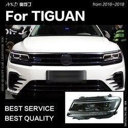 AKD estilo de coche para faros VW Tiguan 2017 Nuevo Tiguan L LED faro DRL escondió la cabeza de la lámpara Ojo de Ángel Bi Xenon Beam
