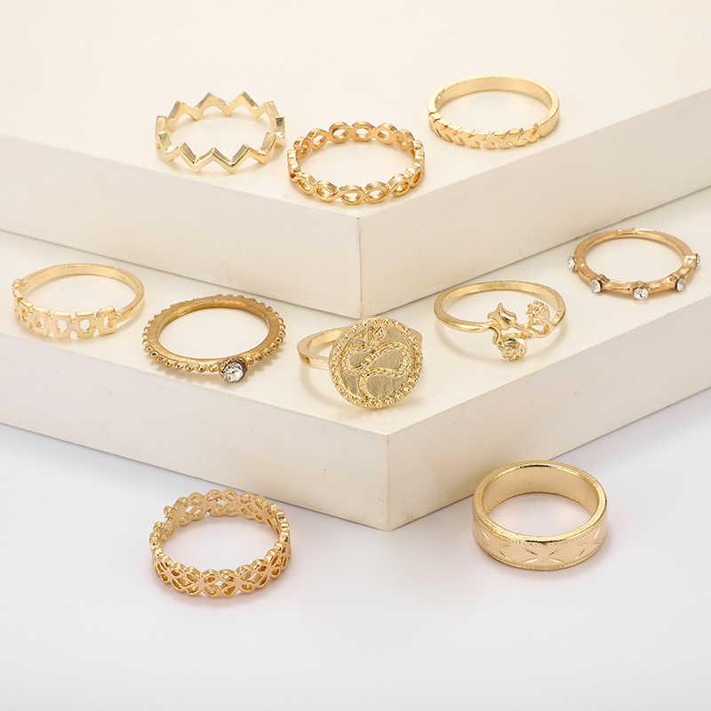 HuaTang mode or serpent anneaux pour femmes filles fleur creux géométrique Midi Knuckle anneaux ensemble Anillos fête bijoux 8808