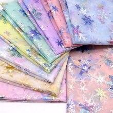 150cm x 100cm de copo de nieve de tela tul suave vestido de princesa tejido brillante año nuevo Organza impreso tela bronceada