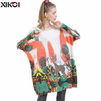 XIKOI invierno Gran suéteres para mujeres cálido Jersey largo vestidos de moda lindo ciervo Jersey estampado de punto suéteres Mujer