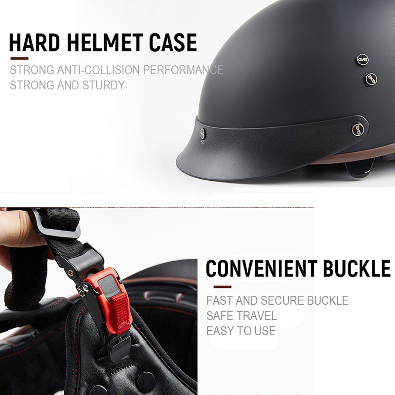 GXT MEN'S Motorcycle Helmet Half Face ABS Motorbike RETRO Helmet FEMAL WOMAN'S Electric Safety Double Lens Helmet Moto Casque 2
