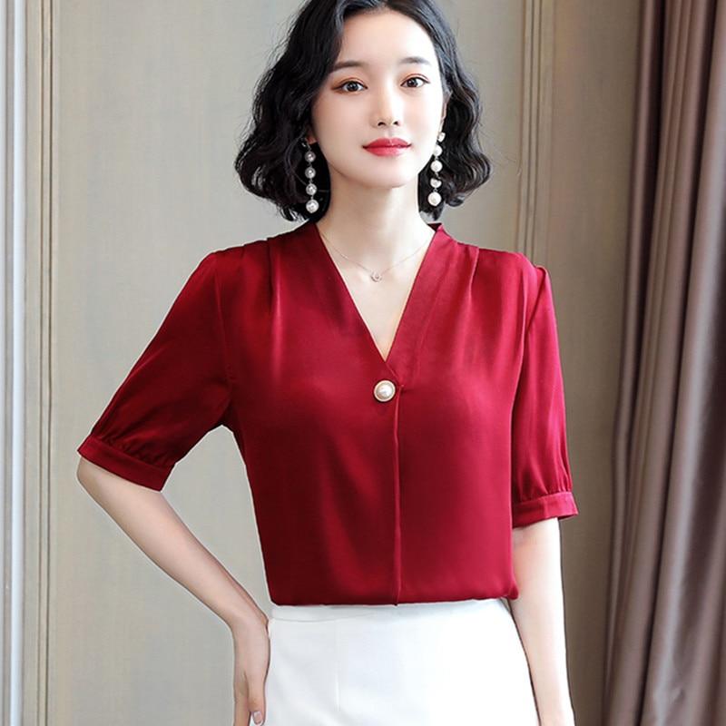 Korean Silk Women Blouses Women Satin Blouse Tops Elegant Woman V-neck Short-Sleeve Shirts Plus Size Blusas Mujer De Moda 2020