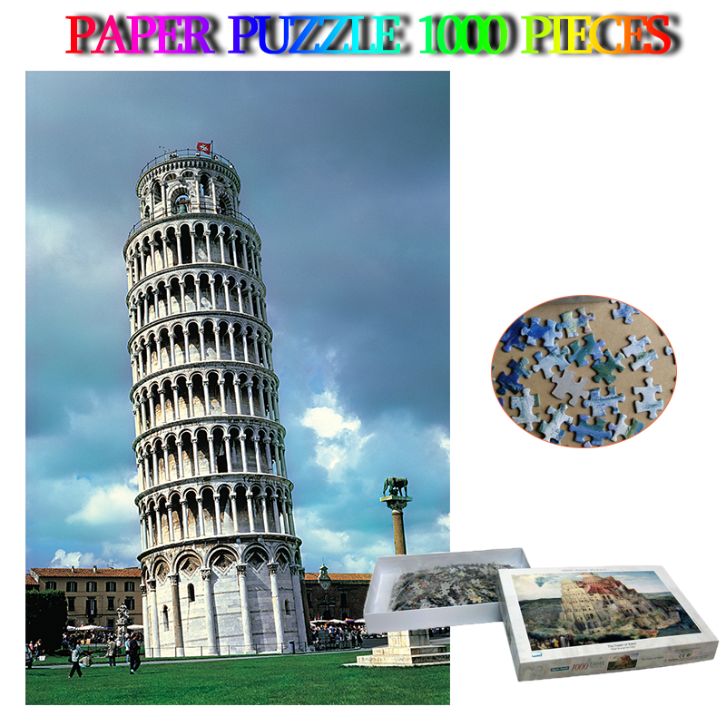 Pise tour penchée Puzzle 1000 pièces papier italie paysage Puzzles pour adultes monde célèbre paysage bricolage Puzzle jouets