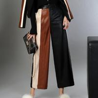 PU leather pants women's 2019 autumn and winter loose ankle length pants hit color stitching PU wide leg pants trousers L1594