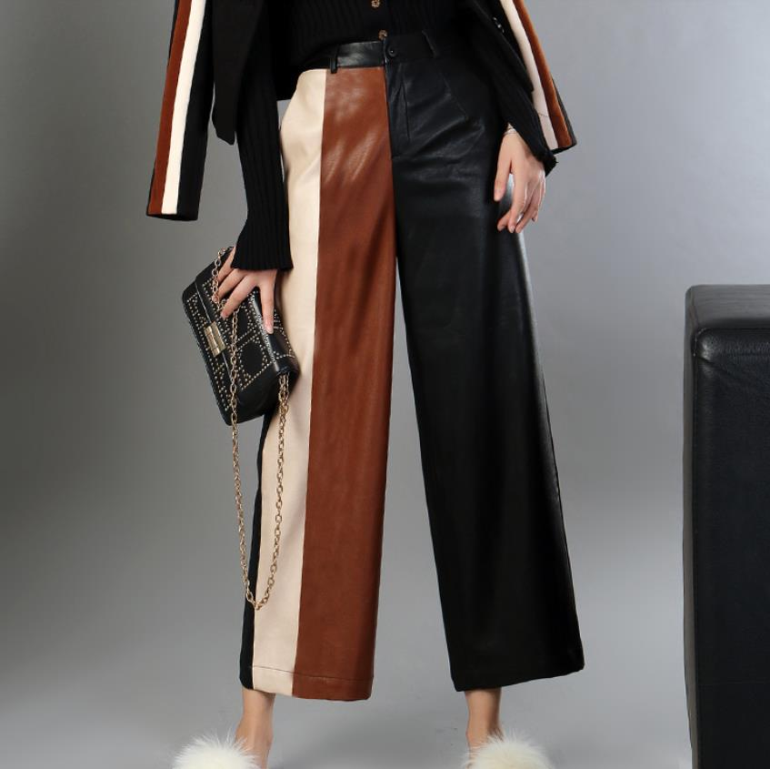 PU Leather Pants Women's 2019 Autumn And Winter Loose Ankle-length Pants Hit Color Stitching PU Wide Leg Pants Trousers L1594