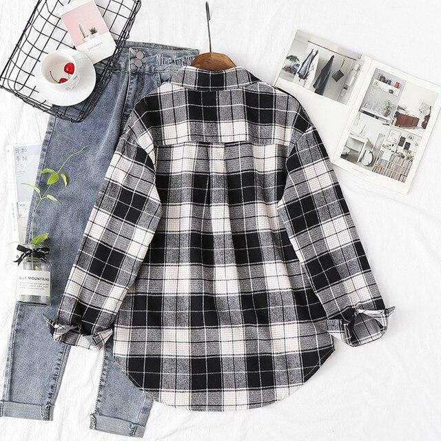Fashion Women Plaid Shirt Chic Checked Blouse Long Sleeve Female Casual Print Shirts Loose Cotton Tops Blusas