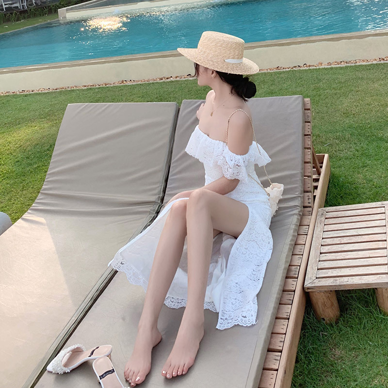 Seaside Holiday Off-Shoulder Beach Long Skirts Off-Shoulder Lace Dress Trip Shoot Dress Simple Light Wedding Dress