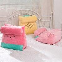 Creative Fruits Plush Pillow with Small Cushion Soft Watermelon Pineapple Strawberry Pattern Stuffed Plush Toy Back/Waist Pillow