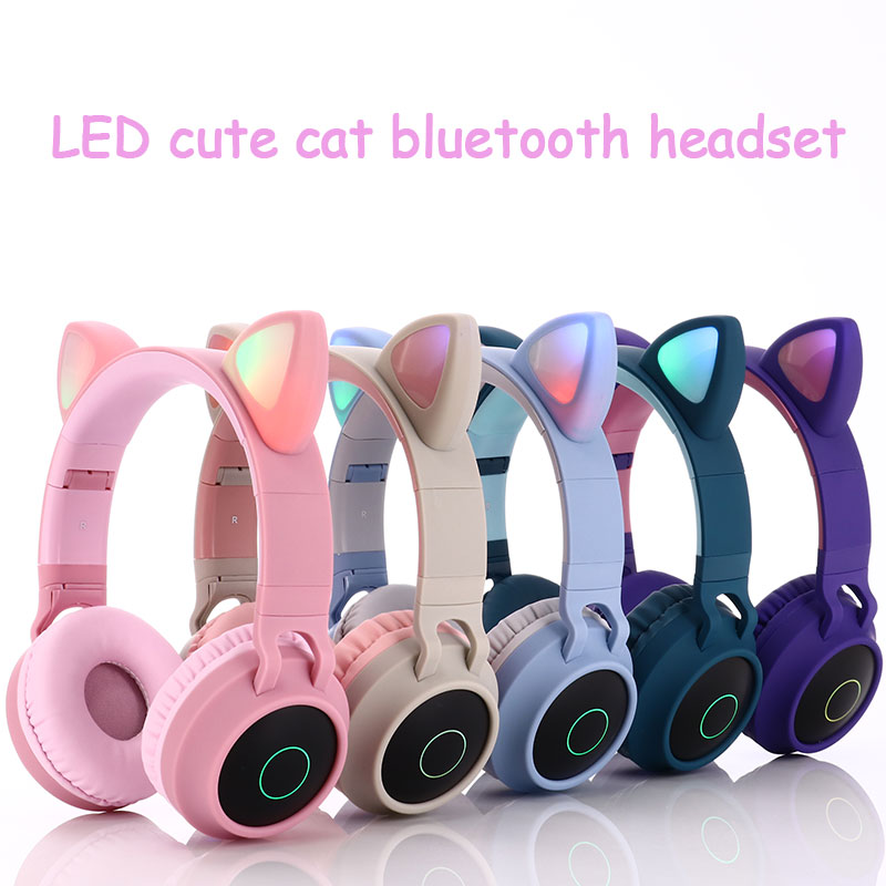 Cute Led Cat Ear Bluetooth Wireless Headphones Foldable Cosplay Cat Headphones Gaming Headset For Music Headset With Microphones Sweatproof Headphones Headphone Headphoneheadphones With Microphone Aliexpress