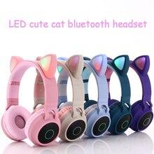 Śliczne LED ucho kota słuchawki bezprzewodowe z Bluetooth składane Cosplay Cat słuchawki gamingowy zestaw słuchawkowy na muzyczny zestaw słuchawkowy z mikrofonami