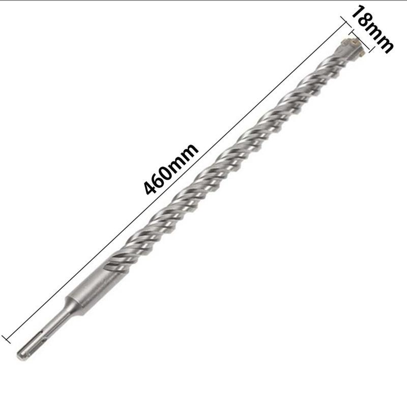 1pcs Twist Electric Hammer Round Shank Drill Bit 460mm 10/18mm SDS Plus Crosshead Twin spiral Bits