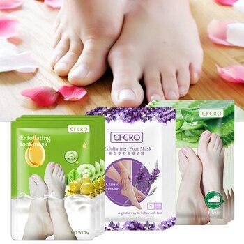 EFERO 6pcs=3pair Lavender/Aloe Exfoliating Foot Mask Peeling Dead Skin Whitening Feet Mask for Legs Patch Pedicure Socks 1