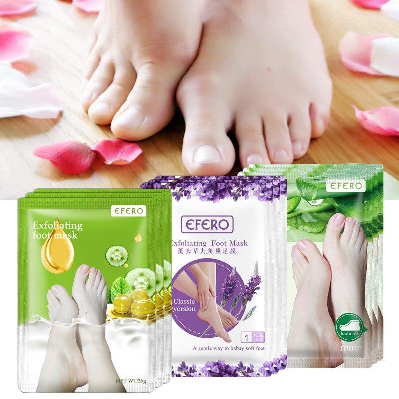 EFERO 6pcs=3pair Lavender/Aloe Exfoliating Foot Mask Peeling Dead Skin Whitening Feet Mask For Legs Patch Pedicure Socks