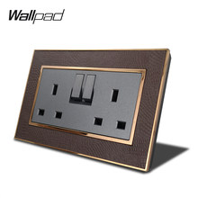 Wallpad L1 doble interruptor 13A UK 3 Pin enchufe de la pared de energía eléctrica toma de corriente única Panel de cuero de marco de Metal dorado(China)