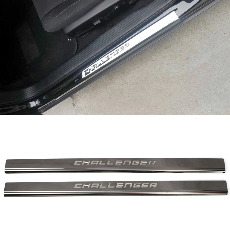 For Dodge Challenger 2015-2019 Stainless Steel Accessories Outer Door Sill Scuff Plate Threshold Cover Trim 2PCS