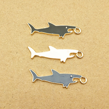 10pcs 11x31mm enamel shark charm for jewelry making earring pendant necklace and bracelet charm