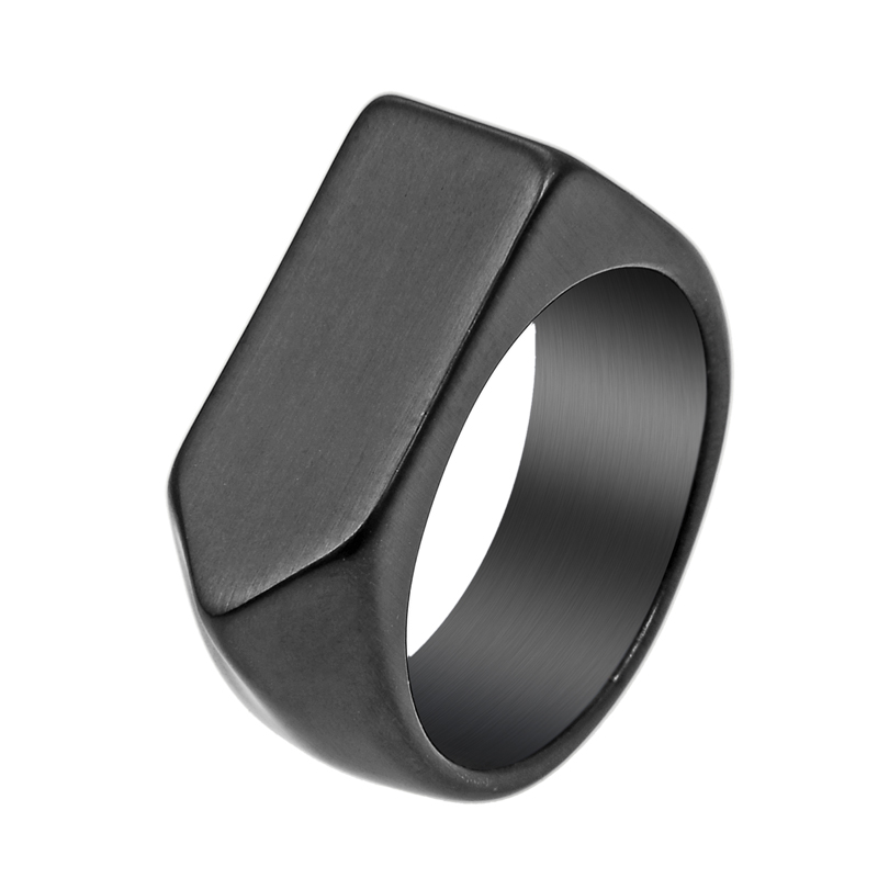 EdgLifU New arrival Men Ring Women's Black Vintage Cool Biker brand Rings Stainless steel Geometric Shape Simple Finger