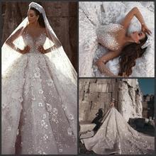 Arabic Dubai Wedding Dress 2020 Long Sleeve Luxury Beading Flowers Cathedral Train mariage Wedding Bridal Gowns robe de mariee