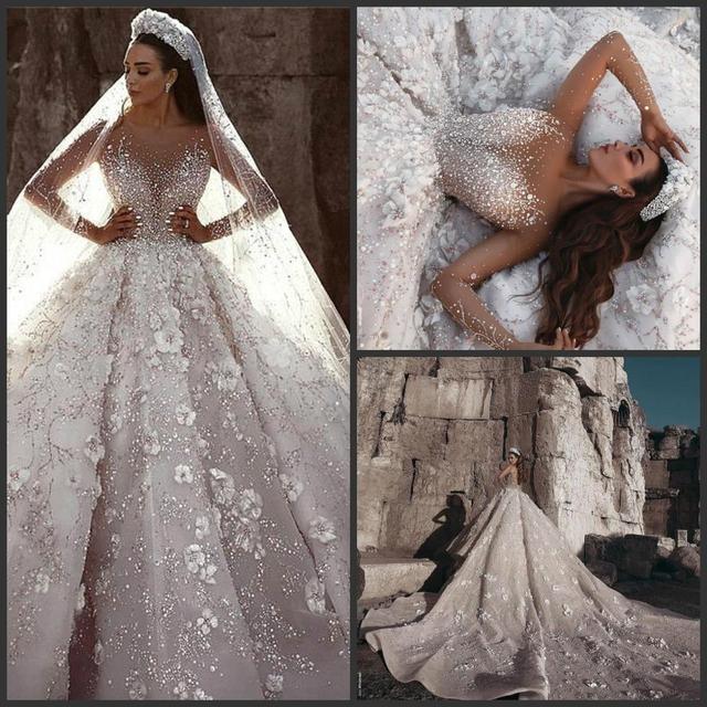 Arabisch Dubai Hochzeit Kleid 2020 Langarm Luxus Perlen Blumen Kathedrale Zug mariage Hochzeit Brautkleider robe de mariee