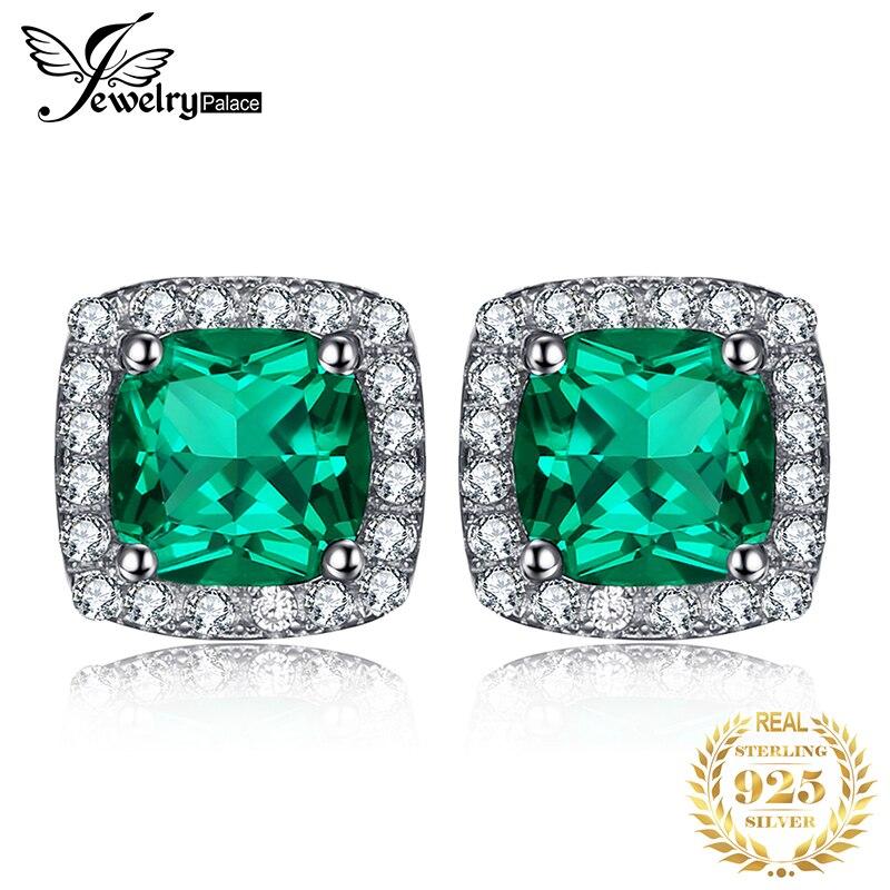 JPalace Created Nano Emerald Stud Earrings 925 Sterling Silver Earrings For Women Gemstones Korean Earings Fashion Jewelry 2019