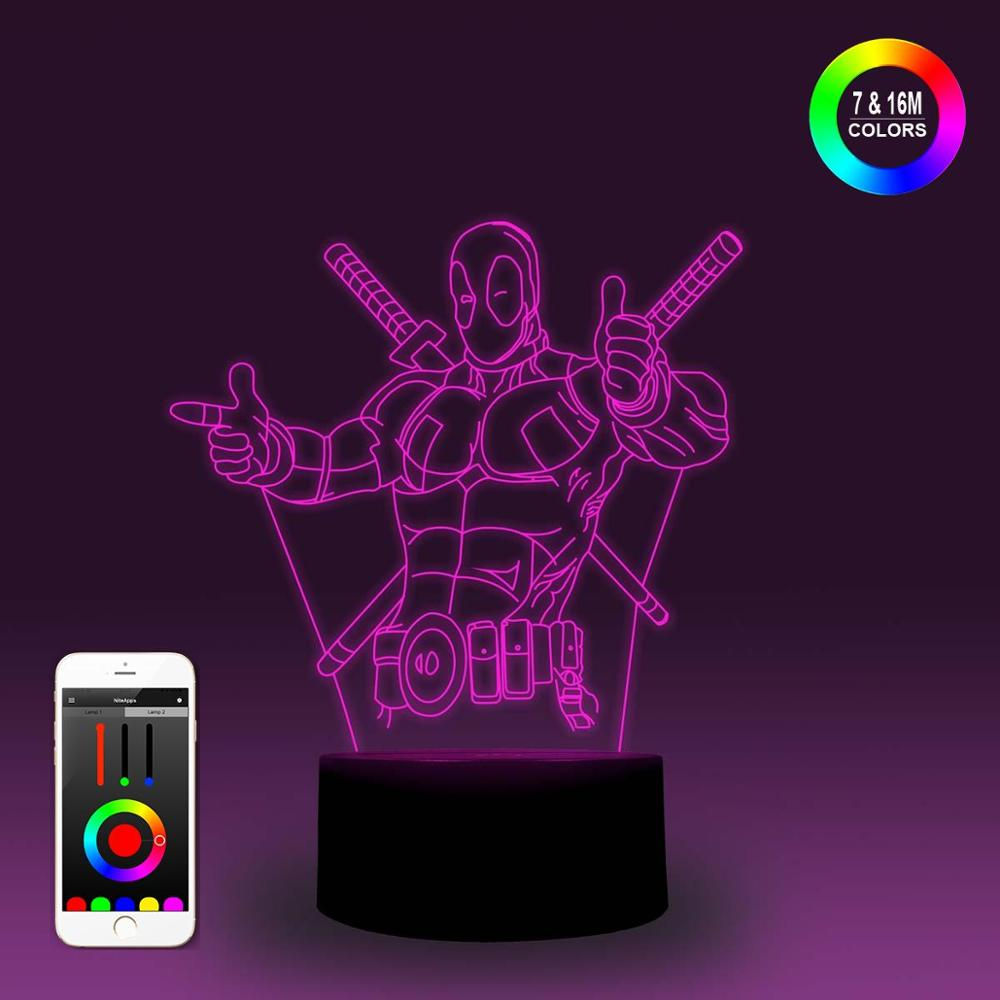 NiteApps 3D Deadpool Thumbs Up Night Light Desk Table Illusion Lamp Holiday Birthday Gift APP/Touch Control