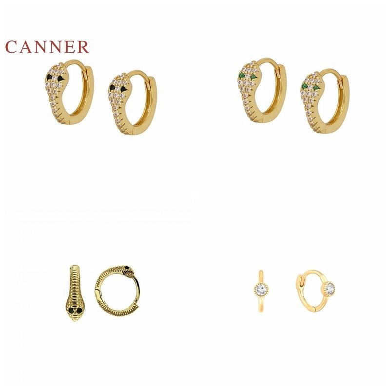 CANNER-Pendientes de plata de ley 925 auténtica para mujer, aretes de serpiente pequeños Retro, aros de plata coreana, joyería de oro, Pendientes