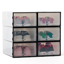 6ps transparent shoe box thickened transparent dustproof shoe storage box can be stacked combination shoe cabinet shoe organizer