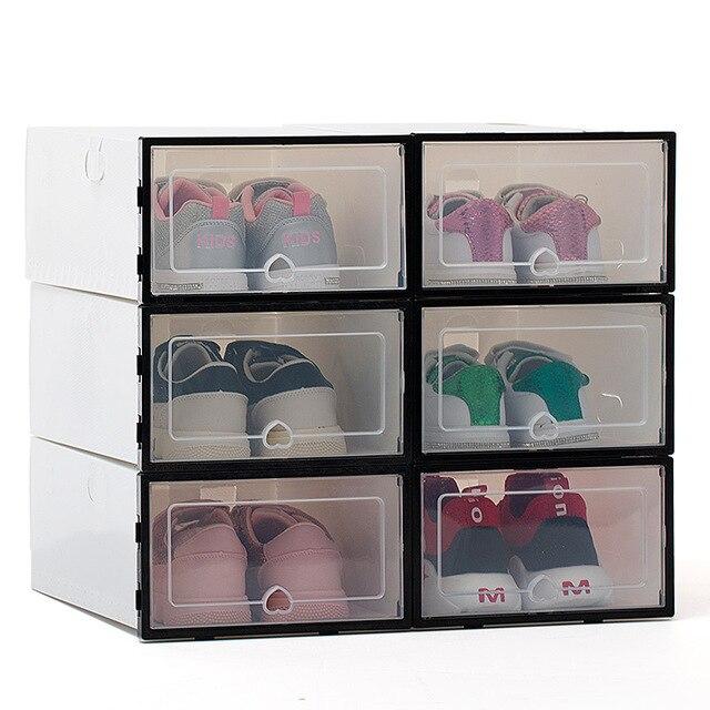6ps transparente caixa de sapato engrossado transparente dustproof sapata caixa de armazenamento pode ser empilhada combinação sapato armário sapato organizador