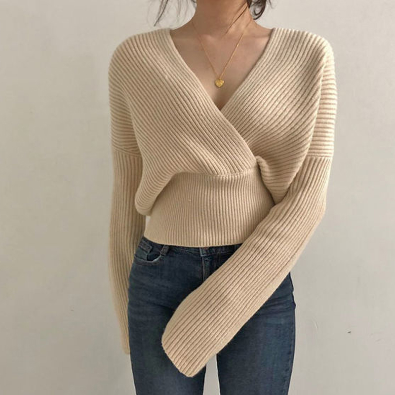 Mozuleva Sexy Fashion V-neck Cross Women Knitted Sweater 2019 Winter Loose Warm Female Pullovers Jumpers Knit Tops Short Sweater