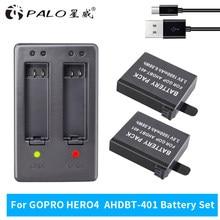 100% oryginalny 2-4 sztuk 3.8V 1600 mAh akumulator LED ładowarka dla GoPro HERO4 AHDBT-401 AHBBP-401 brand new
