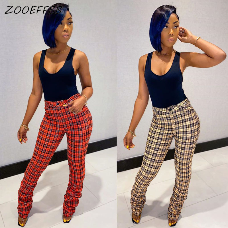 ZOOEFFBB Sexy Plaid High Waist Ruched Stacked Sweatpants Women Elastic Plus Size Skinny Bell Bottom Trousers Leggings Flare Pant