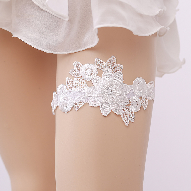 Wedding Garter Rhinestone White Embroidery Flower Sexy Garters For Women/Female/Bride Thigh Ring Bridal Leg Garter