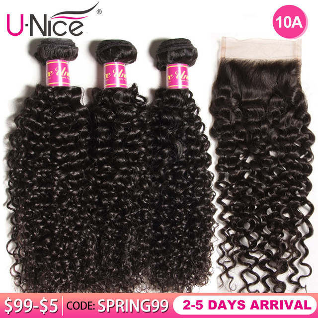 $ US $70.20 UNice Hair Curly Weave Human Hair With Closure 4/5PCS Brazilian Remy Hair Weave Bundles with Closure Lace Hair Face Mask