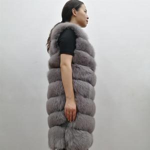 Image 4 - Женский жилет из натурального лисьего меха, толстый теплый длинный жилет без рукавов, роскошная модель на зиму, 2019