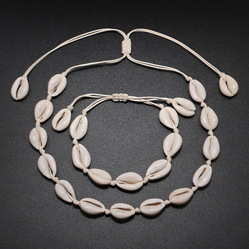 Original Design Shells Necklace Bracelet One Set Natural Seashells Knit Chain Rope Girl Choker Bracelets Jewelry Gift Adjustable 1