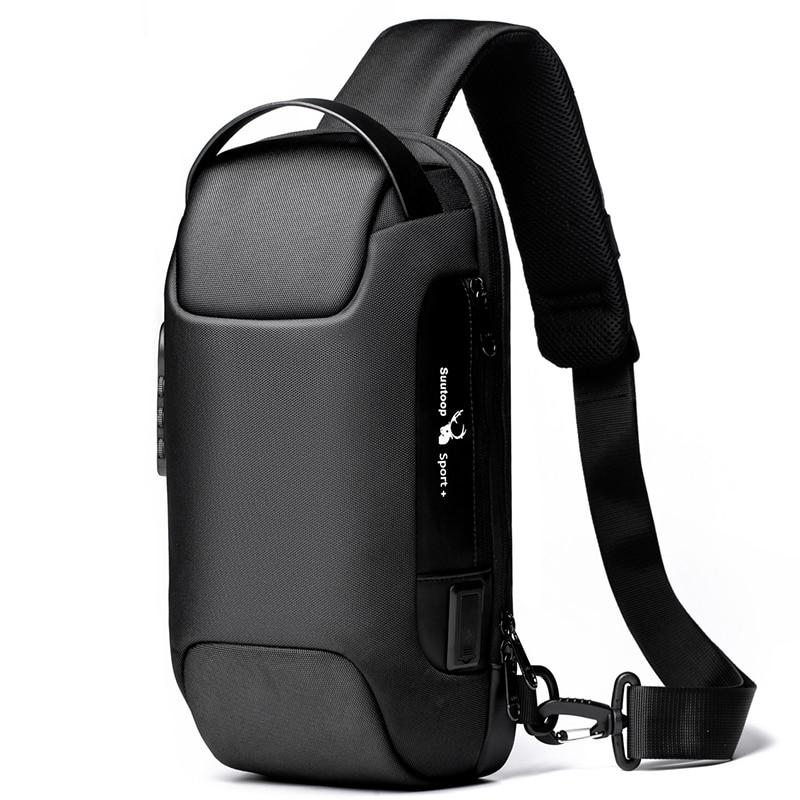 Herren Wasserdichte USB Oxford Crossbody-tasche Anti-theft Schulter Sling Tasche Multifunktions Kurze Reise Messenger Brust Pack Für männlichen