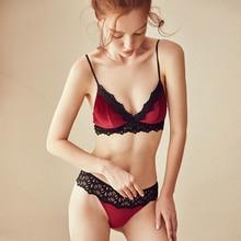 2019 새로운 플러시 얇은 컵 면화 브래지어와 꽃 자수 투명 팬티 섹시한 여성 잠옷 속옷 숙녀 친밀한