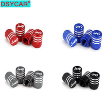 DSYCAR 4Pcs/Set Universal Jeep Logo Alu-alloy Tire Valve Caps for Car Truck Motorcycle Bicycle Stem Cover Accessories