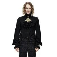 Devil Fashion Men Gothic Chiffon Blouses Punk Ruffle Stand collar Tuxode Party Shirts