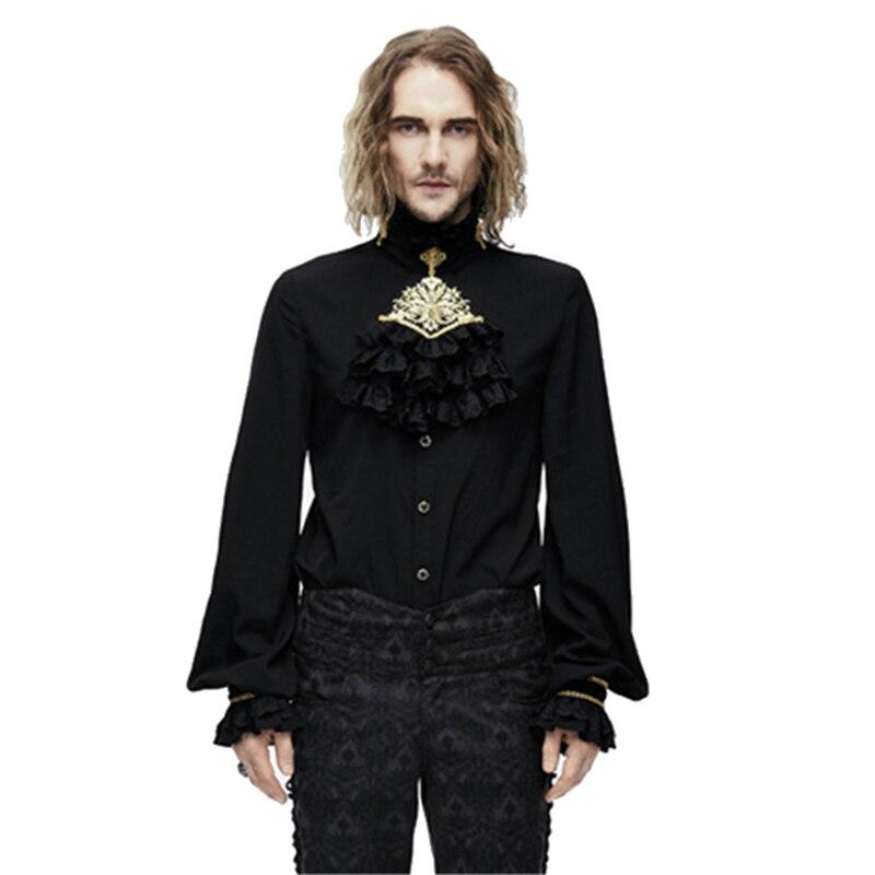 Duivel Mode Mannen Gothic Chiffon Blouses Punk Ruche Stand-kraag Tuxode Party Shirts